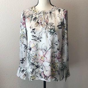WHBM Silk Floral Blouse